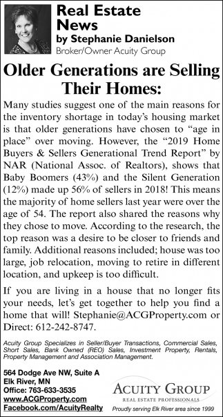 Older Generations are Selling their Homes