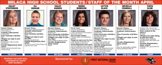 Milaca High School Students/ Staff of the Month April