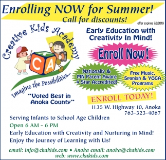 Enrolling Now for Summer!