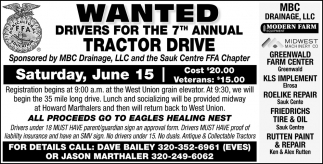 Wanted Drivers for the 7th Annual Tractor Drive