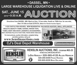 Large Warehouse Liquidation Live & Online Auction