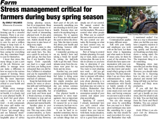 Stress Management Critical for Farmers During Busy Spring Season