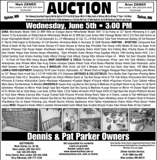 Auction Wednesday, June 5th