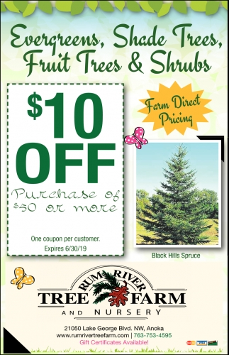 Evergreens, Shade Trees, Fruit Trees & Shrubs