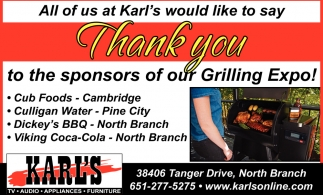 Thank You to the Sponsors of our Grilling Expo!