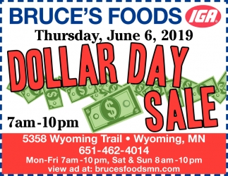 Dollar Day Sale, Bruce's Foods, Wyoming, MN