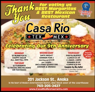 Thank You for Voting Us Best Margaritas & Best Mexican Restaurant
