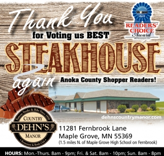 Thank You for Voting Us Best Steakhouse