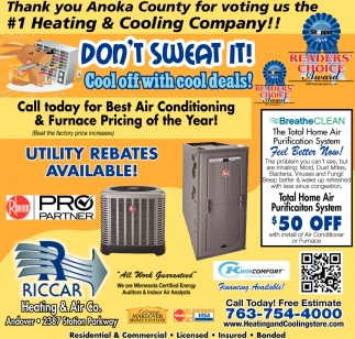 Thank You Anoka County for Voting Us the #1 Heating & Cooling Company!