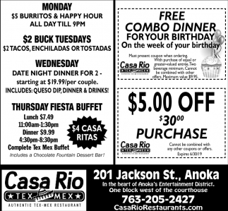 FREE Combo Dinner for Your Birthday On the Week of Your Birthday