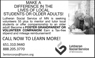 Make a Difference in the Lives of Local Students or Older Adults!