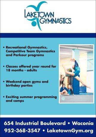 Recreational Gymnastics, Competitive Team Gymnastics and Parkour Programs