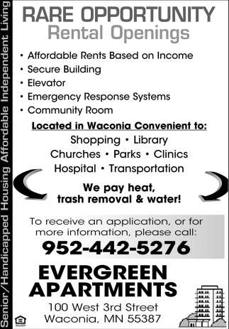 Affordable Rents based On Income