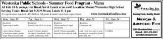 Summer Food Program - Menu