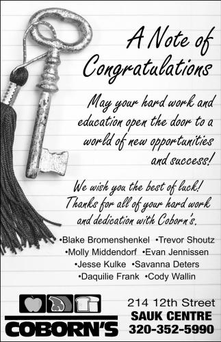 A Note of Congratulations