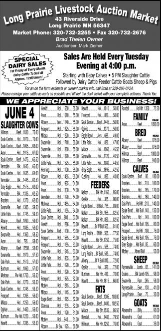 We Appreciate Your Business!