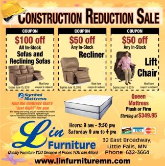Construction Reduction Sale