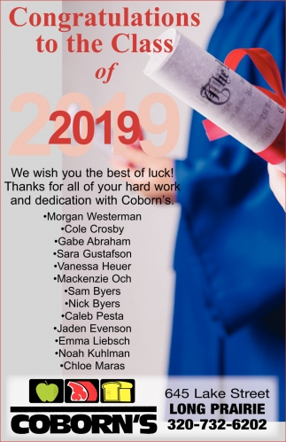 Congratulations to the Class of 2019