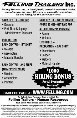 $1000 Hiring Bonus