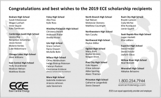 Congratulations and Best Wishes to the 2019 ECE Scholarship Recipients