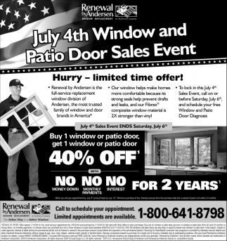 July 4th Window and Pation Door Sales Events