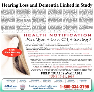 Hearing Loss and Dementia Linked in Study