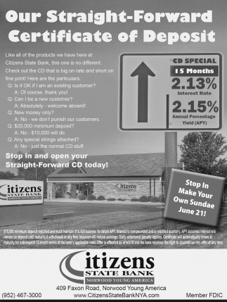 Our Straight-Foward Certificate of Deposit
