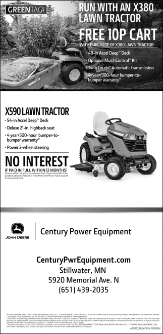 Run with an X380 Lawn Tractor