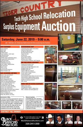 Tech High School Relocation Surplus Equipment Auction