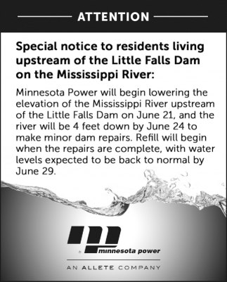 Special Notice to Residents Living Upstream of the Little Falls Dam on the Mississippi River