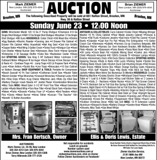 Auction Sunday June 23