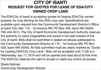 Request for Quotes for Lease of EDA/City Owned Crop Land