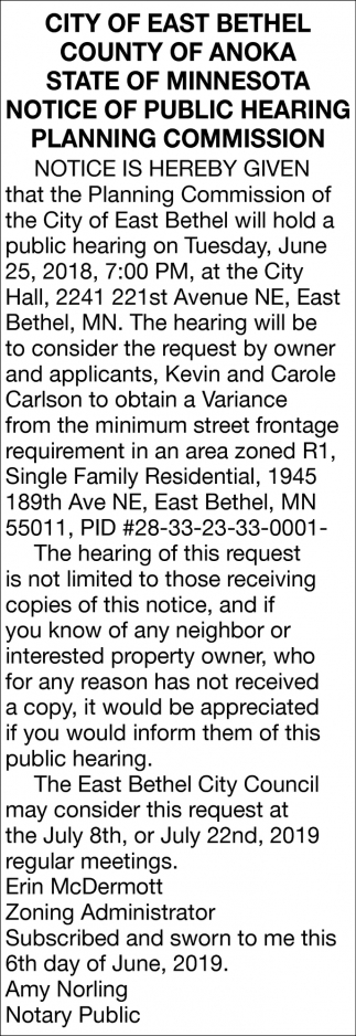 Notice of Public Hearing Planning Commission