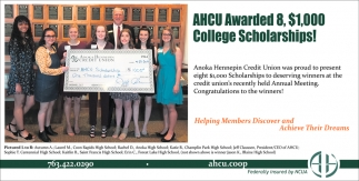 AHCU Awarded 8, $1,000 College Scholarships!