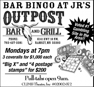 Bar Bingo at JR's Outpost Bar and Grill