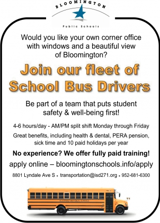 Join Our Fleet of School Bus Drivers