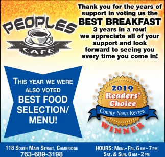 Thank You for the Years of Support in Voting Us the Best Breakfast 3 Years in a Row!
