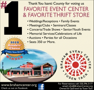 Thank You Isanti County for Voting Us Favorite Event Center & Favorite Thrift Store