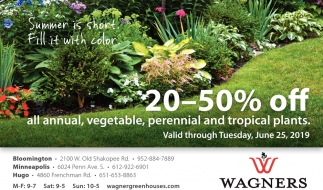 20 - 50% OFF All Annual, vegetable, Perennial and Tropical Plants