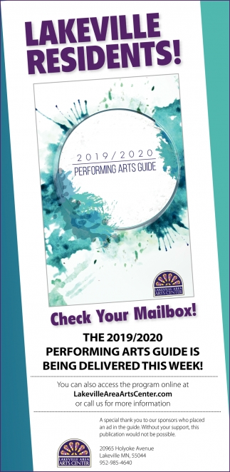 The 2019/2020 Performing Arts Guide is Being Delivered this Week!