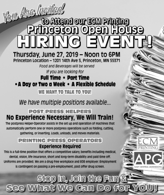 You're Invited to Attend Our ECM Printing Princeton Open House Hiring Event!