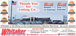 Thank You for Voting Us Best Domestic Car Dealership