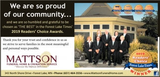 2019 Readers Choice Awards Mattson Funeral Home Forest