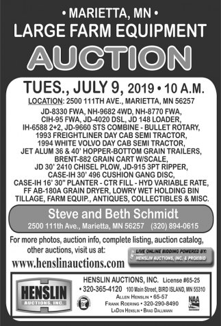 Large Farm Equipment Auction