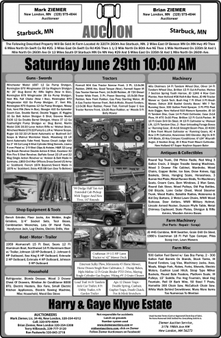 Auction Saturday June 29th