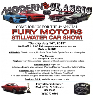 4th Annual Fury Motors Stillwater Car Show!