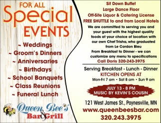 For All Special Events
