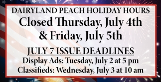 Dairyland Peach Holiday Hours