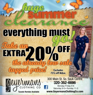 Huge Summer Clearance Everything Must Go!