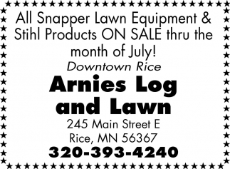 All Snapper Lawn Equipment & Stihl Products On Sale Thru the Month of July!